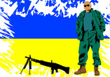 Soldier whit Ukrainian flag