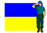Ukrainian flag and soldier