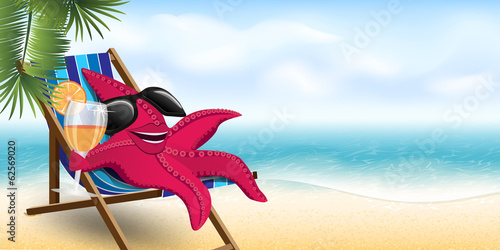 funny starfish in a lounge chair on the beach