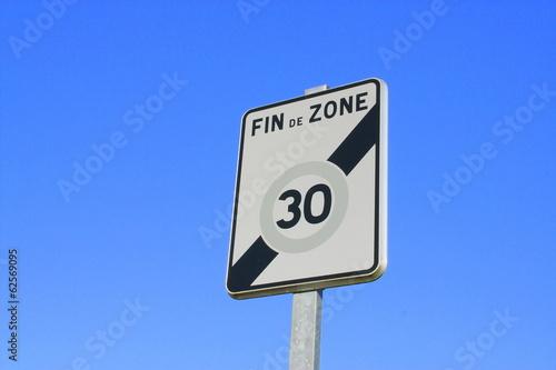 "panneau""fin de zone 30"""