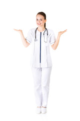 Doctor or nurse showing on copy space.