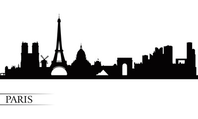 Paris city skyline silhouette background