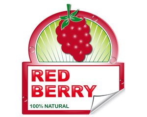 Wild red berry's label for marketplace