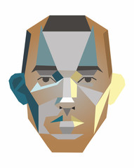 Vector face of a man of geometric shapes