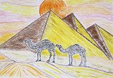 Two camels standing in front of the pyramids and the rising sun,