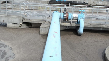 turn view sewage water sludge settle mechanism treatment plant