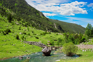 Amazing view of mountain river in Aiguestortes National Park