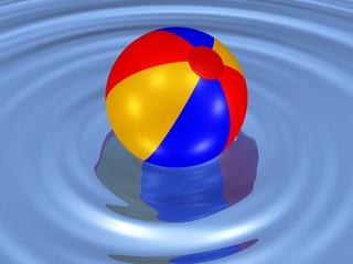 Wasserball im Wasser, Strandurlaub