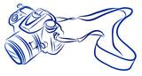 Free Hand Sketch of DSLR camera Vector