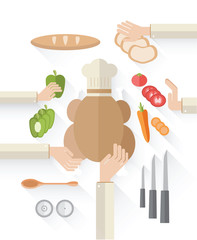 Food industry vector with food and chefs hands