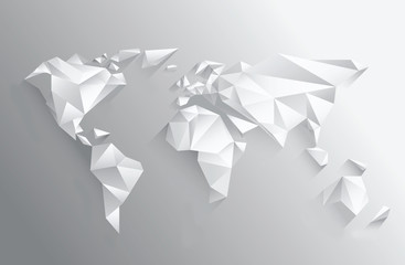 Angular white world map on grey