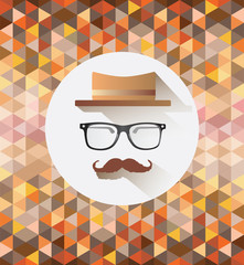 Hipster accessories vector with pattern background