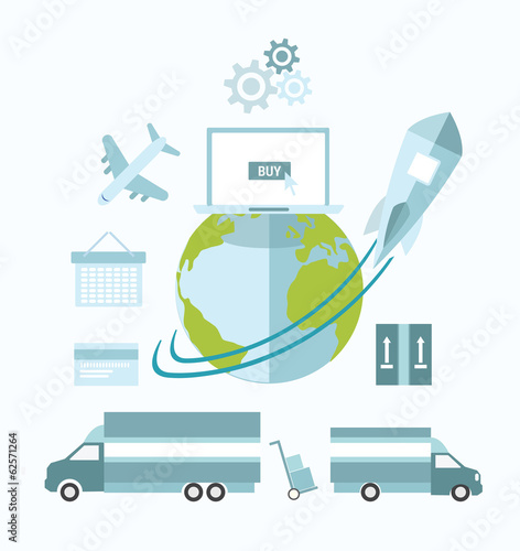 Global ecommerce vector with earth and transport