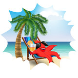 funny starfish in a lounge chair on the beach2