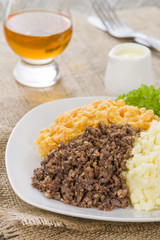 Haggis, Neeps & Tatties - Traditional Scottish meal.