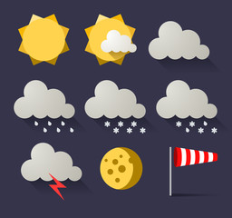 Weather flat icon set. Vector illustration