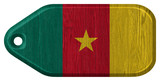 cameroon flag painted on wooden tag
