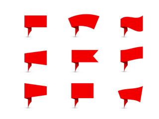 RETRO PAPER PIN POSTER (origami post flag button icon)