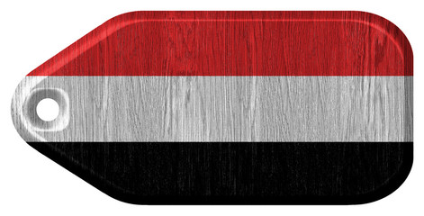 Yemen flag painted on wooden tag