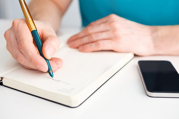 Man's hand writes a pen on diary