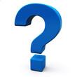 Blue question mark sign, 3d