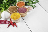 Different kinds of seasonings and herbs