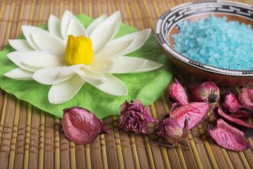 Sea salt, soap and roses. Spa concept