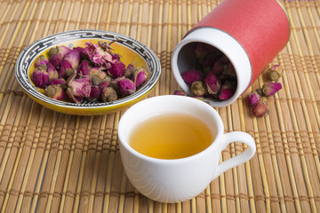 natural tea with flowers in Oriental setting