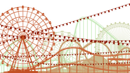 Horizontal illustration of roller-coaster and Ferris Wheel.