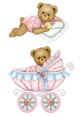 Baby Bear Carriage Set Pink
