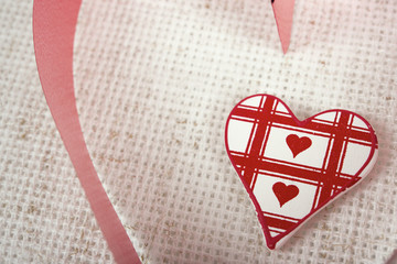 decoration on cloth with heart and ribbon