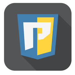 vector round icon of web shield with P letter for python program