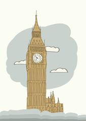 Big Ben, London, England, UK. Hand Drawn Illustration