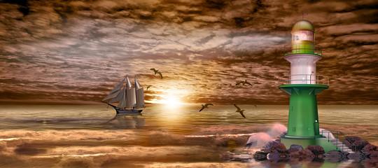 Leuchtturm mit Segelschiff am Abend