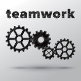 Concept of teamwork with sketched mechanical gears.