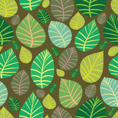 Background of leaves. Seamless vector illustration.