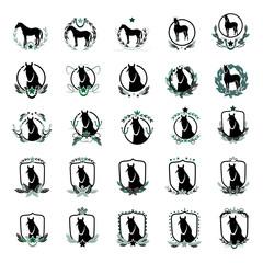 Horse Icons Set - Isolated On White Background