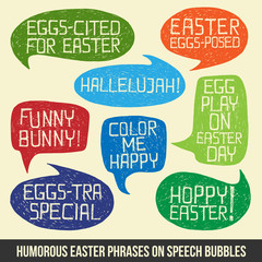 HAPPY EASTER humorous phrases on bubble speeches