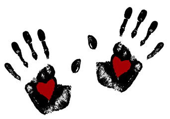 Hand print with red heart .