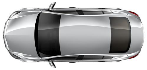 Silver sedan - top view