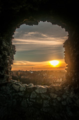 Window in medieval fortified wall