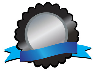 Silver medallion in black, blue ribbon below