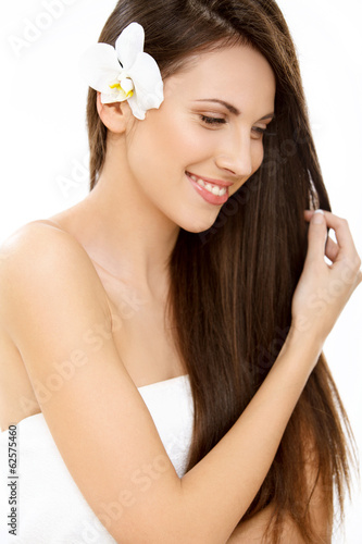 Hair. Beautifull Woman with Long Healthy and Shiny Smooth Hair
