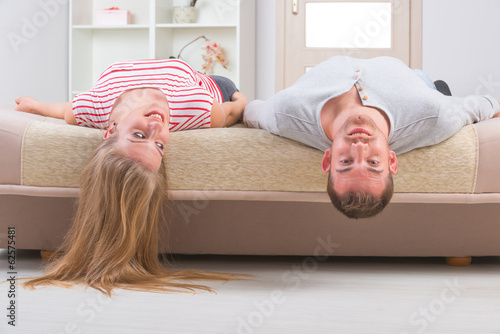 Couple laying on the bed