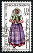 Postage stamp GDR 1977 Sorbian Costume from Senftenberg