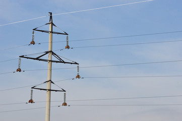 Iron electric pole in the sky.