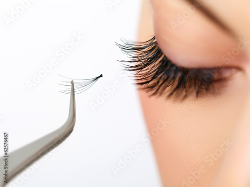 Woman eye with beautiful makeup and long eyelashes. Mascara Poster