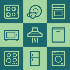 Home appliances web icons, green square buttons set