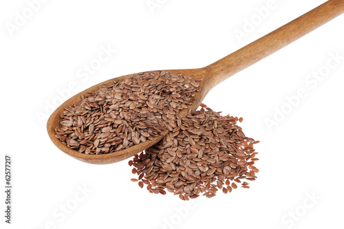 wooden spoon with flax seeds