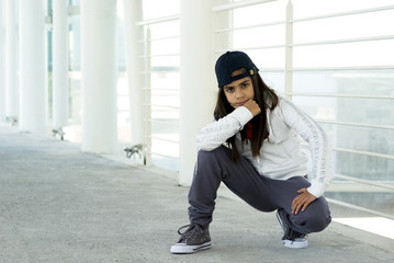 Preteen mixed race girl posing